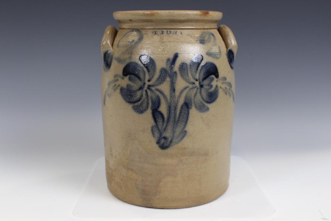Stoneware Storage Jar Cobalt Floral Stamped Lyon