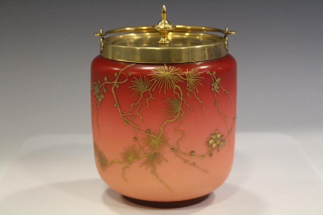 Webb Peachblow Biscuit Cracker Jar