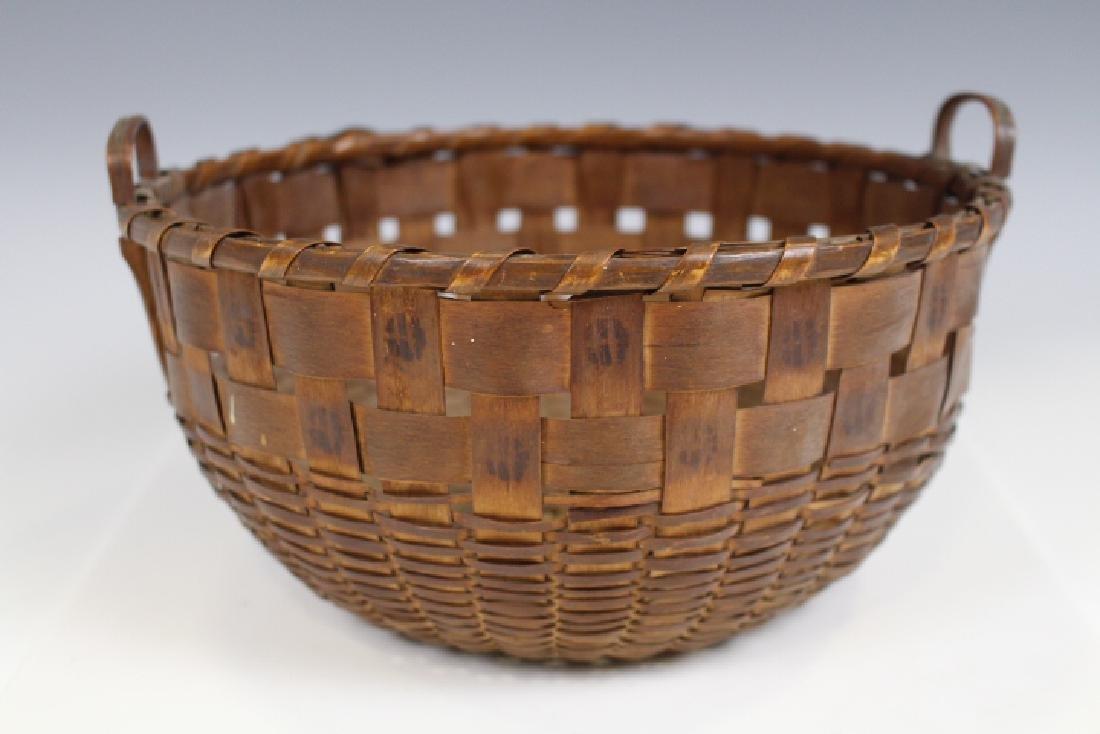 Native American Indian Potato Print Round Basket