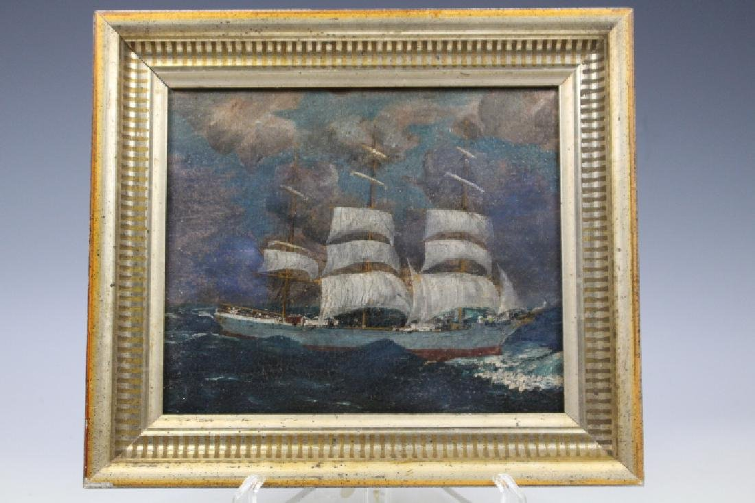 19th C Oil Painting of 3-Masted Ship