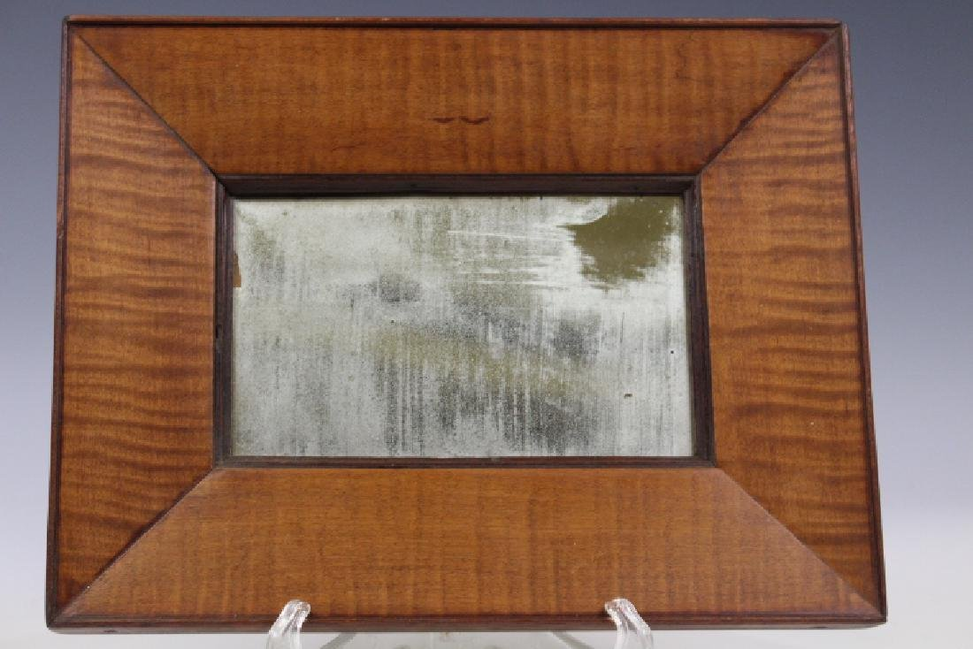 Mid-19th C Looking Glass w/ Tiger Maple Frame