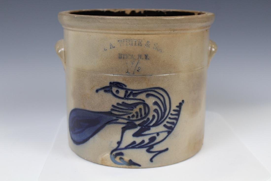 N. A. White & Son Stoneware Crock w/ Bird