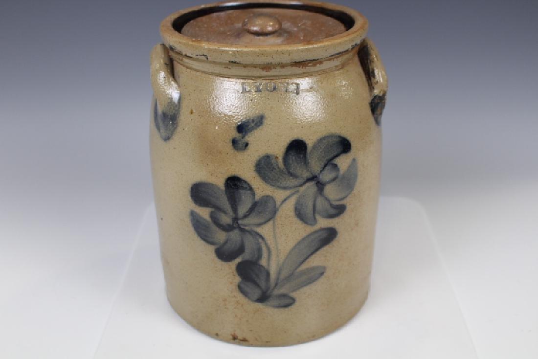 Lyon Stoneware Lidded Crock w/ Cobalt Floral