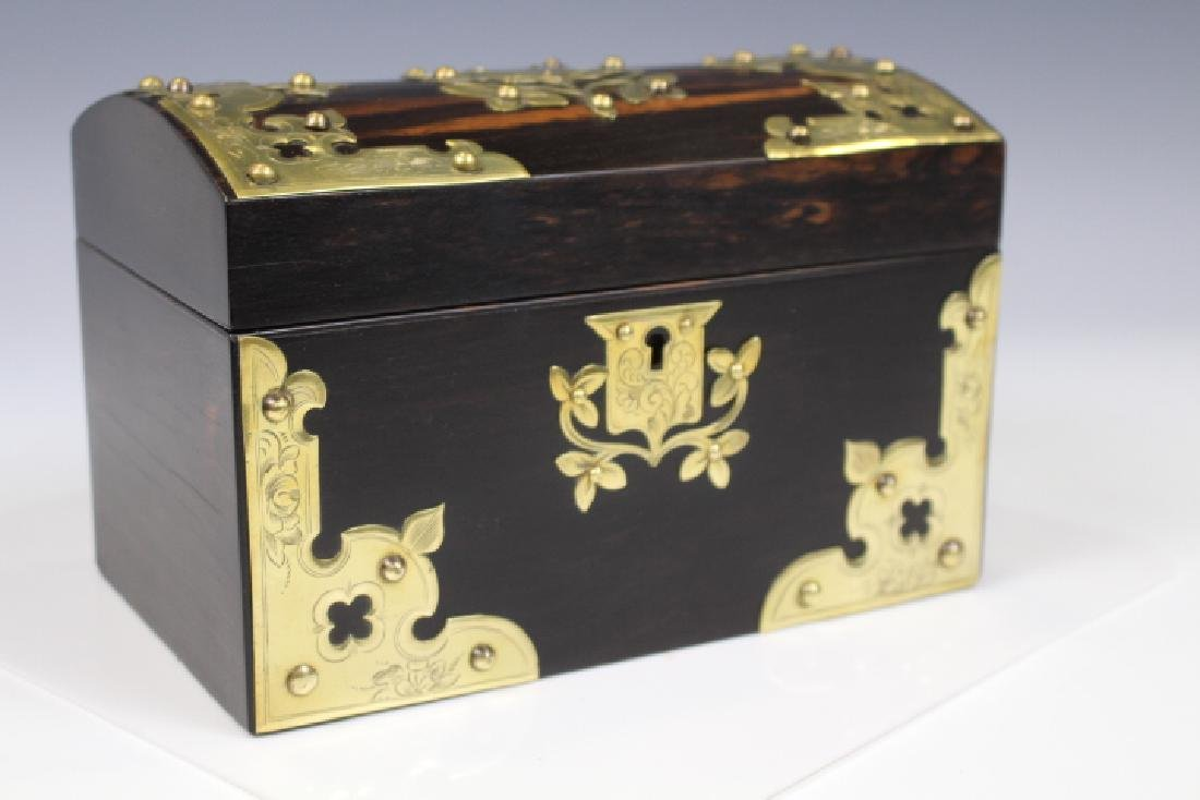 Victorian Coromandel Tea Caddy w/ Brass