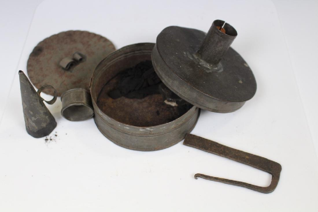 18th C Tinderbox w/Striker, Snuffer, Flint & Damper