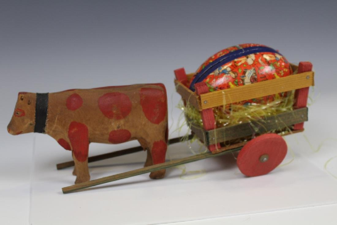 Carved Wooden Cow & Easter Cart w/ Egg