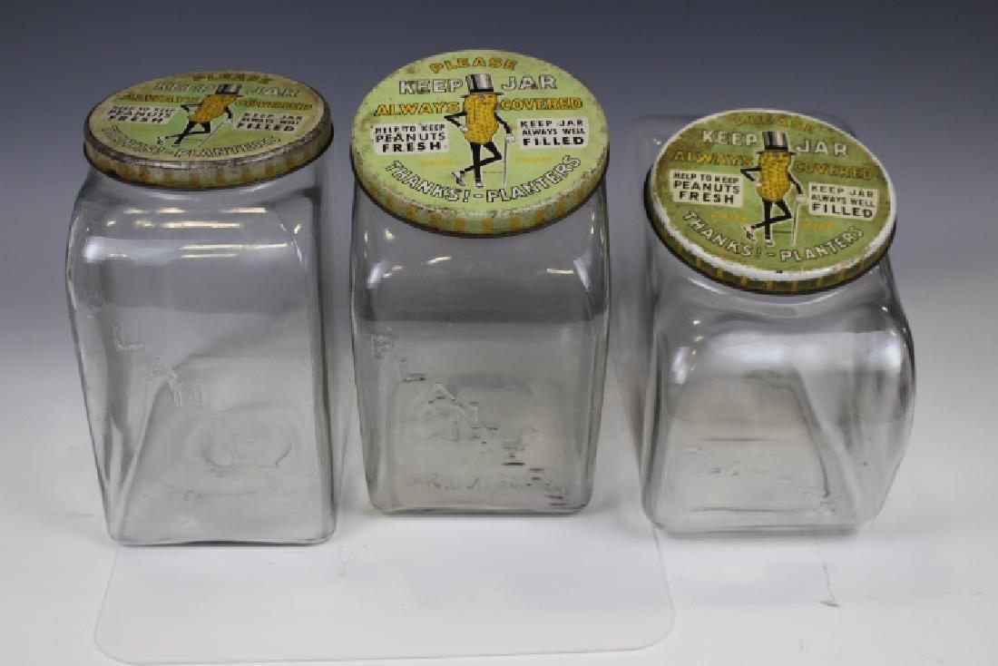 3 Planter's Peanut Jars w/ Tin Lids - Different Shapes