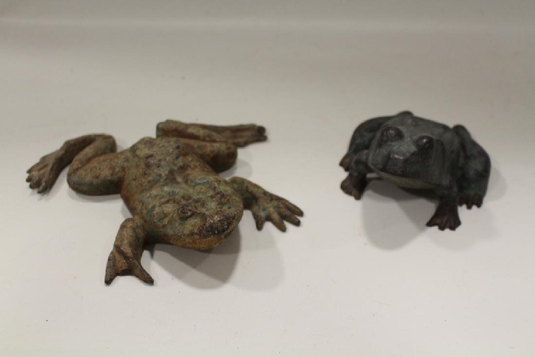 Pair Cast Iron Frog Doorstops