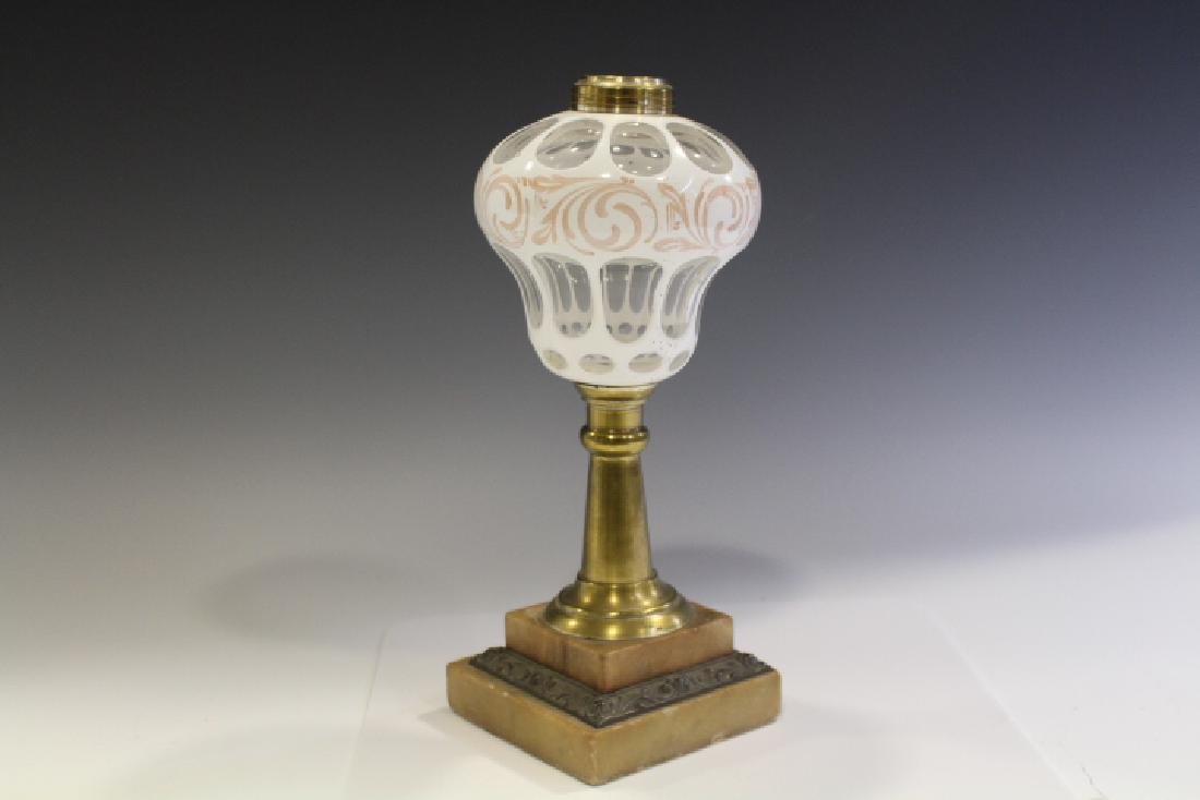 19th C White Overlay Cut to Clear Stand Lamp