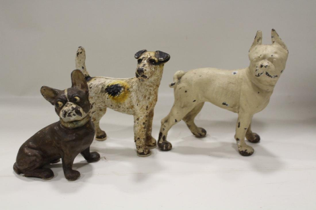 Lot of 3 Cast Iron Dog Doorstops