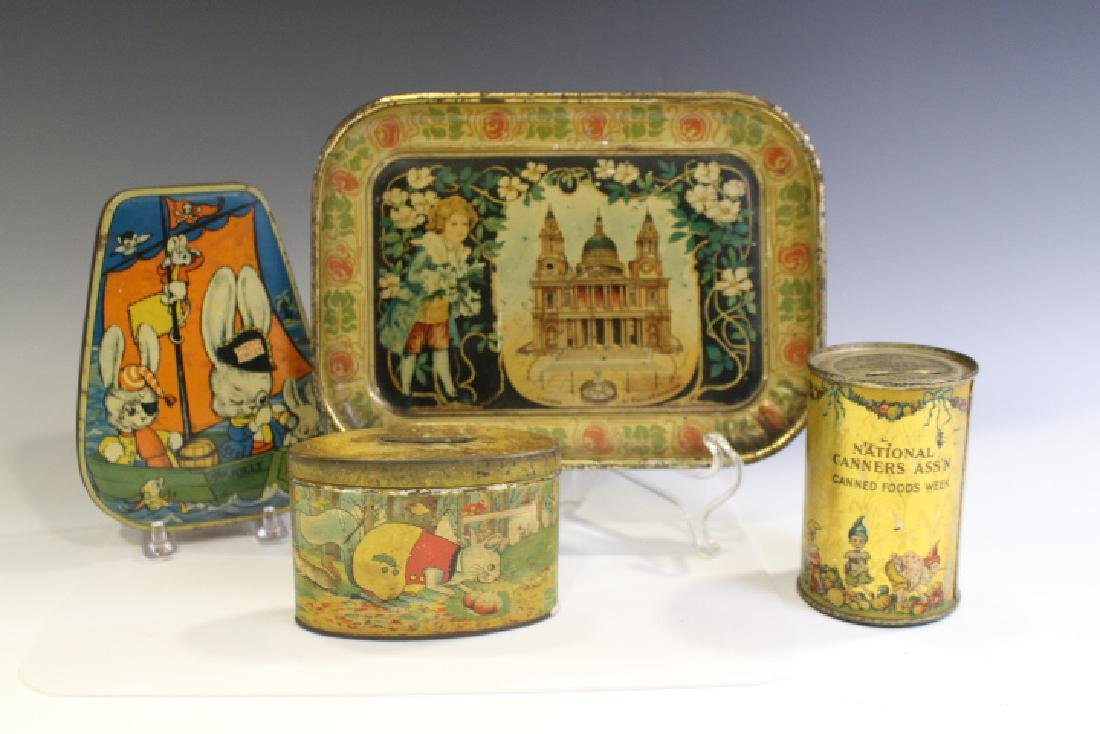 Lot of 4 Children's Lithographed Tins