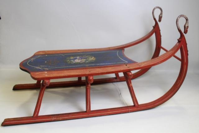 Victorian Era Paint Decorated Sled w/ Swan Heads