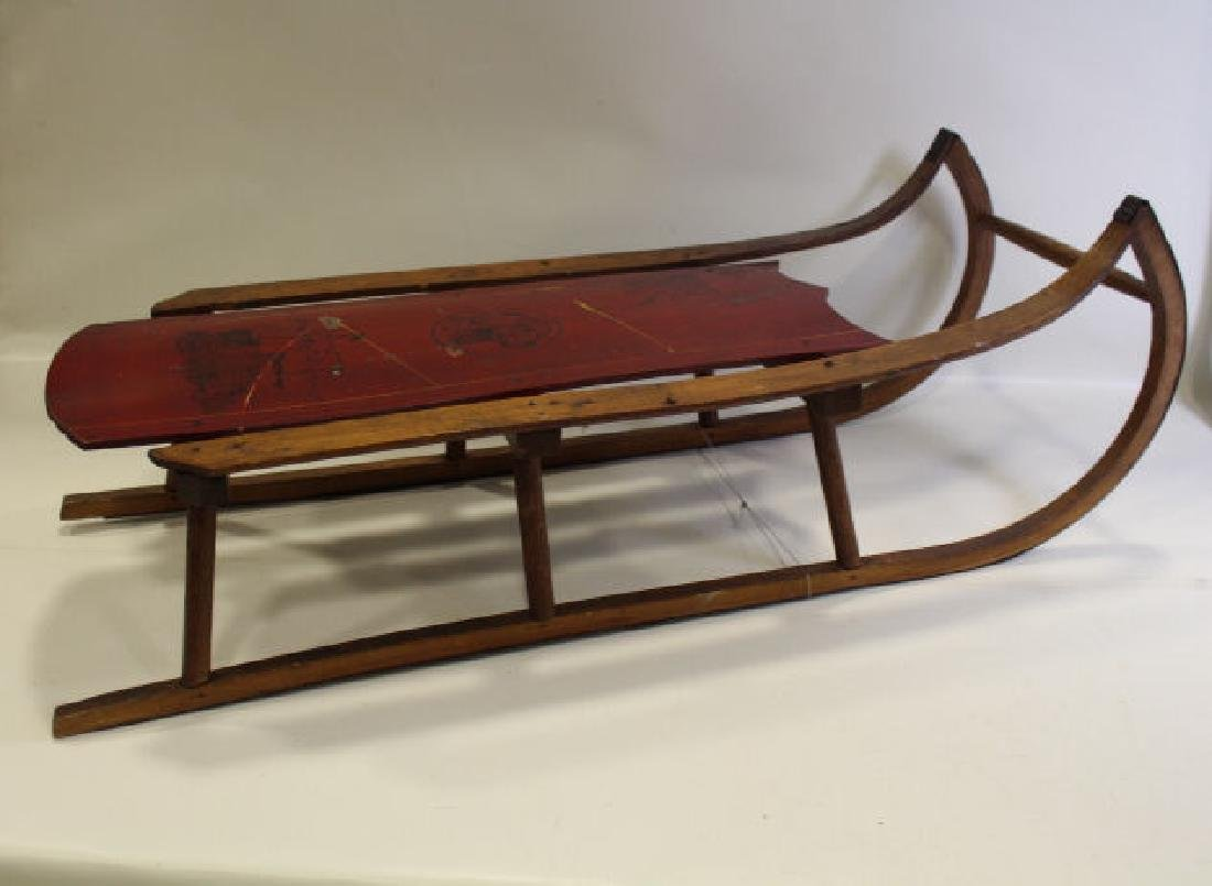 Victorian Era Paint Decorated Sled w/ Dog & Ship