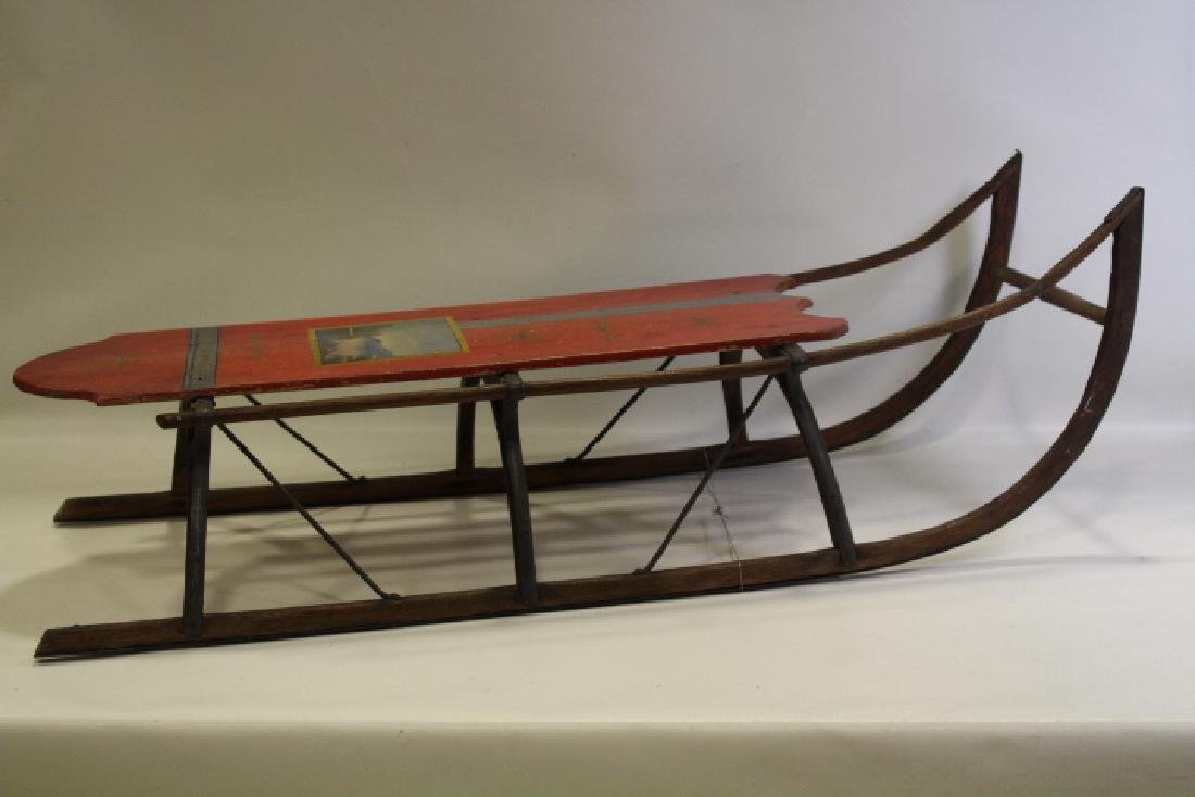 Victorian Era Paint Decorated Sled w/ Seascape