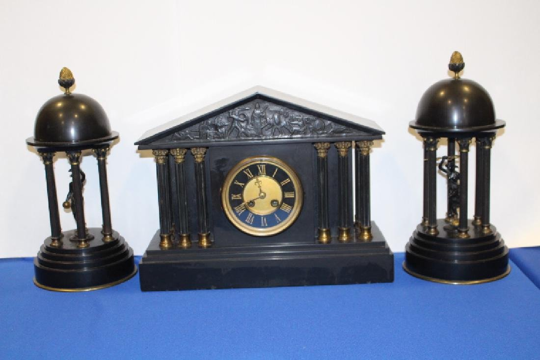 19th C 3-Pc Slate & Brass Clock w/ Domed Figures