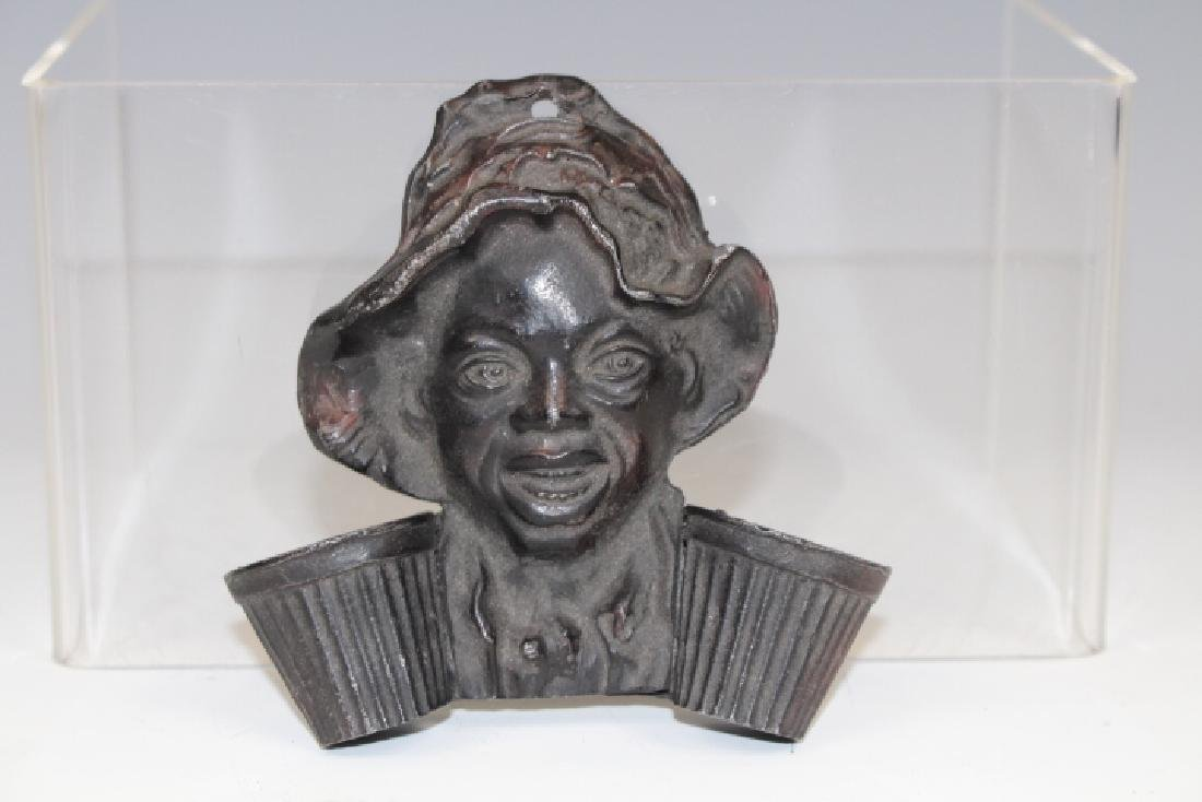 Cast Iron Black Americana Boy Wall Match Holder
