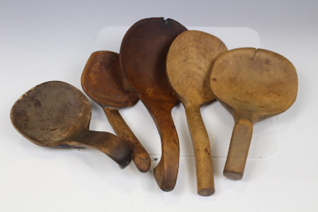 19th C Woodenware - 5 Paddles / Scoops