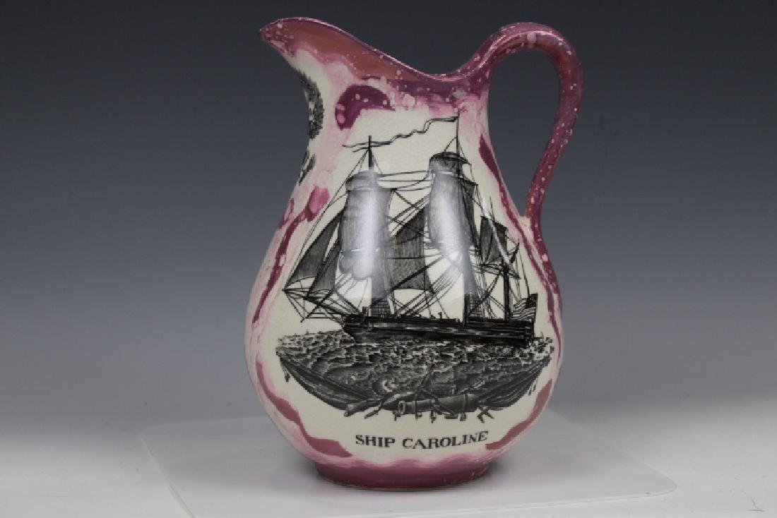 Creamware Pitcher w/ Large Masted Ship Caroline