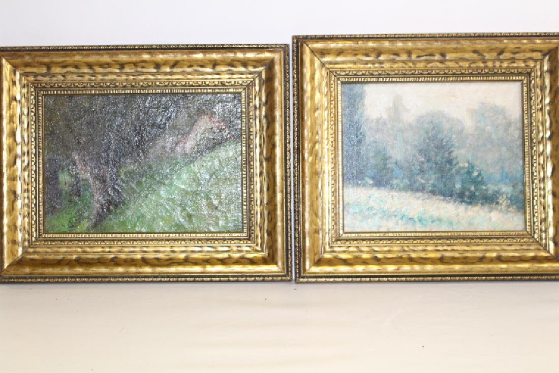 Early 20th C Pair Oil Paintings of Woodlands