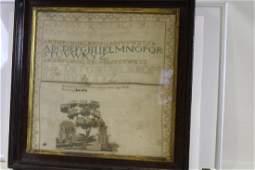 1834 Large School Girl ABC Sampler Pennsylvania