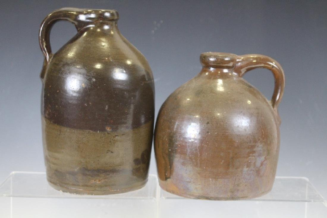 Pair Early 19th C Brown Glazed Stoneware Jugs