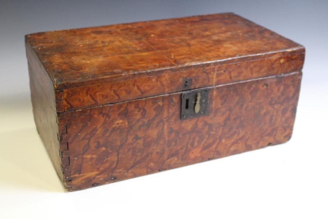 19th C New England Original Paint Decorated Box