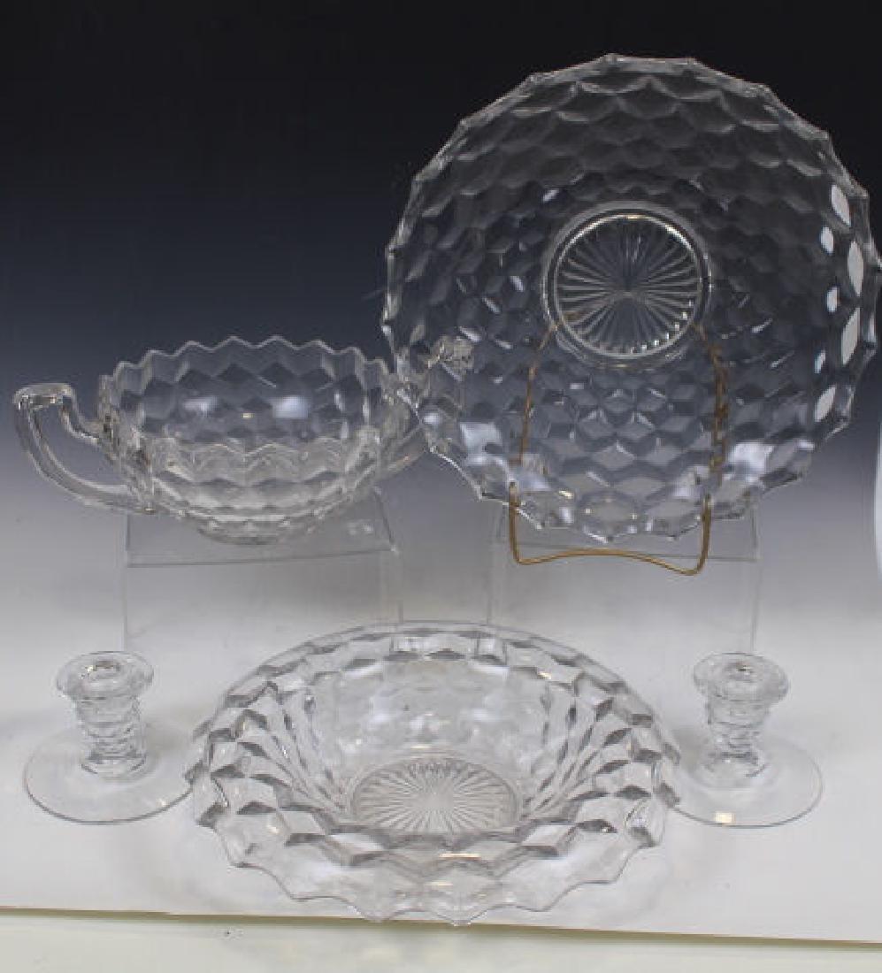 Fostoria Glass Console Bowl & Candlesticks & More