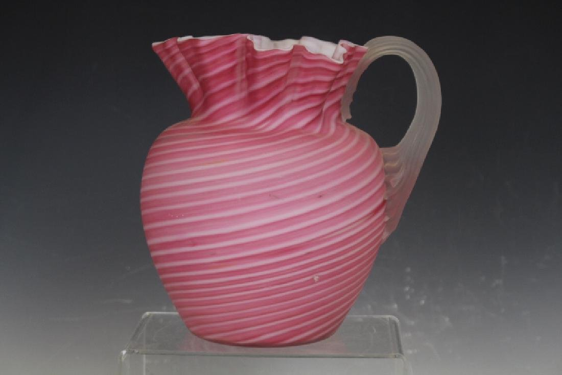 Cranberry Opalescent Swirl Cased Glass Pitcher