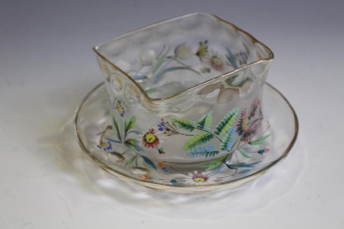 Pomona Victorian Art Glass Decorated Bowl & Plate