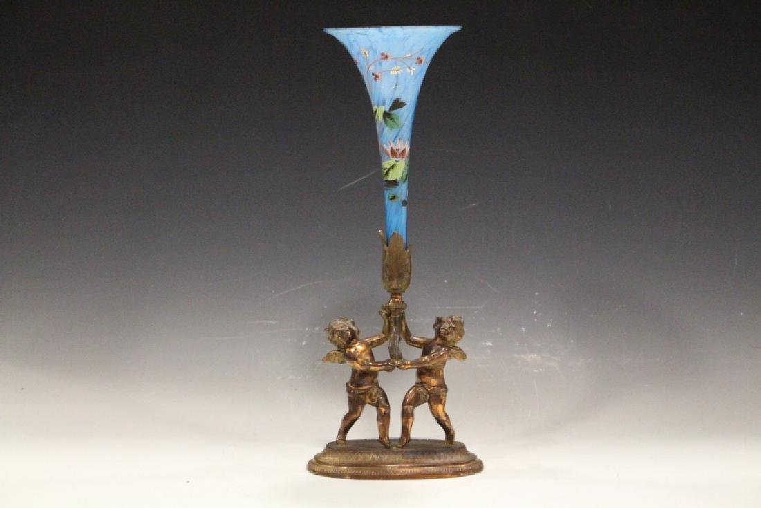 Victorian Art Glass Figural Putti Epergne