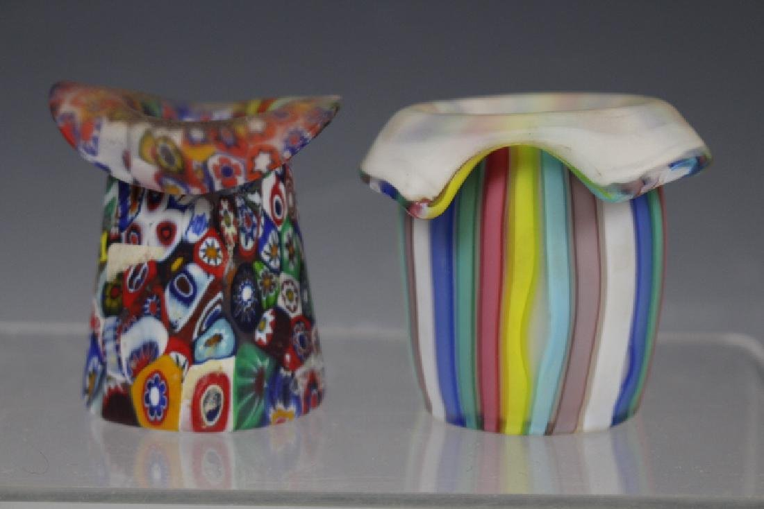 Murano Millefiori & Ribbon Art Glass Toothpick Holders