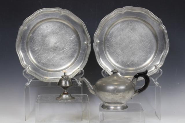 Group of Pewter - Plates, Light and Teapot