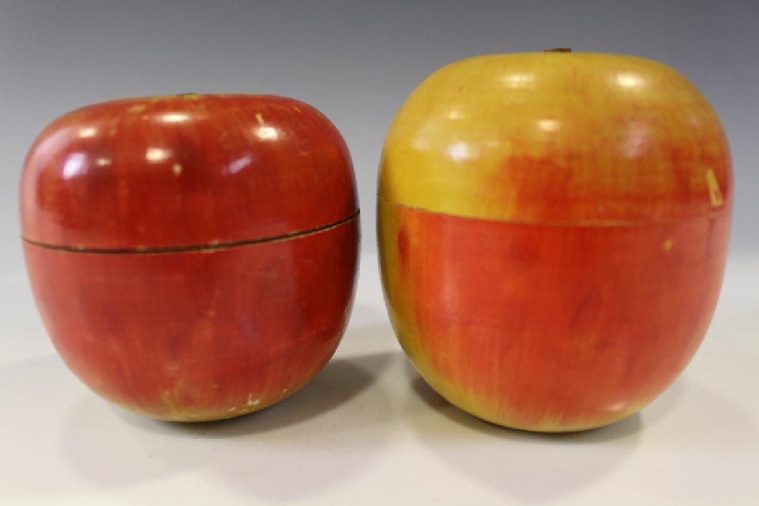 Pair Wooden Painted Apple Treenware Caddies