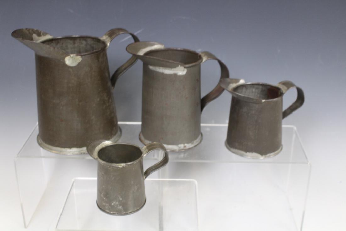 Set of 4 Tin Measures - 19th C