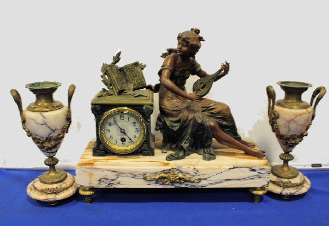 19th C 3-Pc French Statue Clock Set