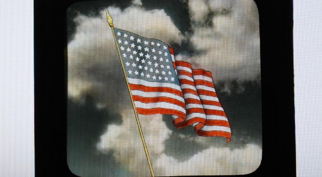 13 Lantern Slides - American Flags