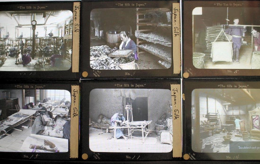 16 Lantern Slides - Japan Silk Industry Takagi