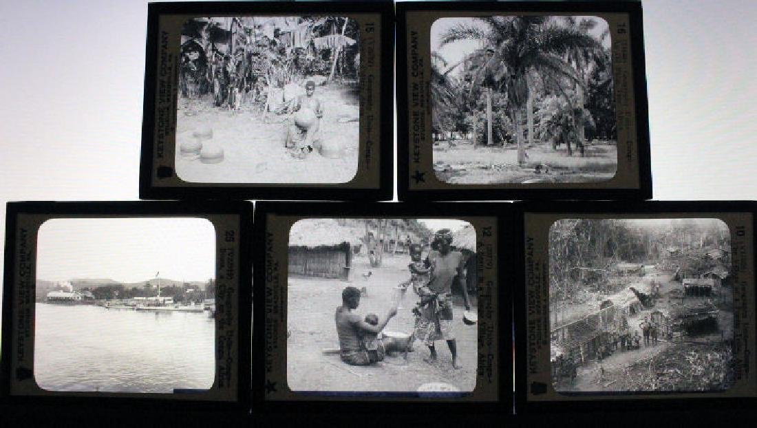 9 Lantern Slides - African Congo - 2