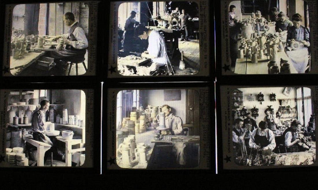14 Lantern Slides Germany w/ Steins & Toy Making