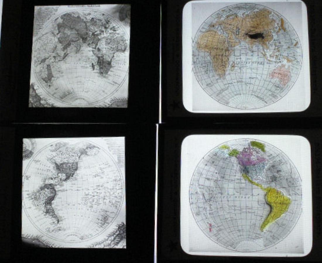 4 Lantern Slides  - Maps World