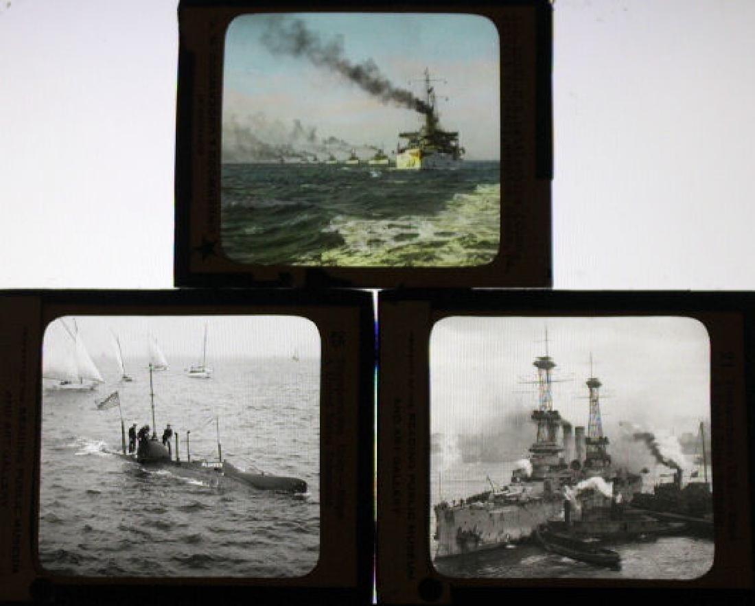 3 Lantern Slides - USA Battleships