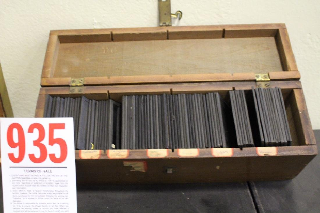 75 Lantern Slides in Wooden Box, Charts Graphs