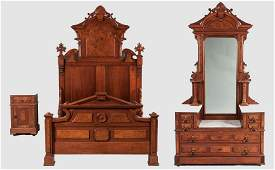 3-Piece Walnut Renaissance Revival Bedroom Suite