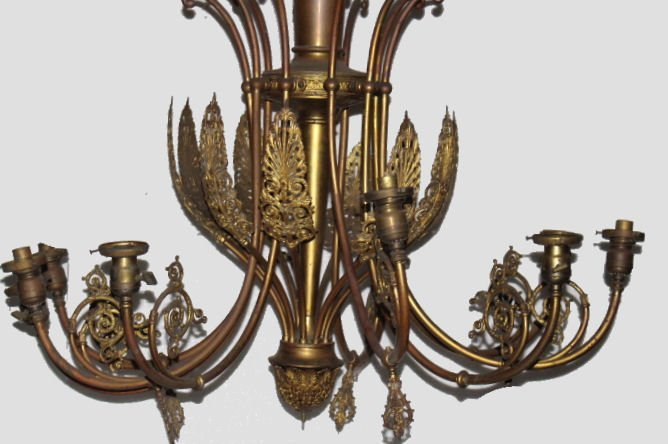 19th C Tall Brass Gas & Electric Ornate Chandelier