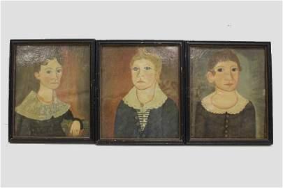 1830s Rare & Important Folk Art Family Portraits