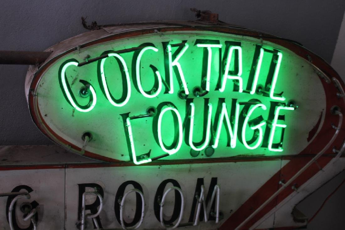 Huge Restaurant Sign w/ Neon Cocktail Lounge - 5