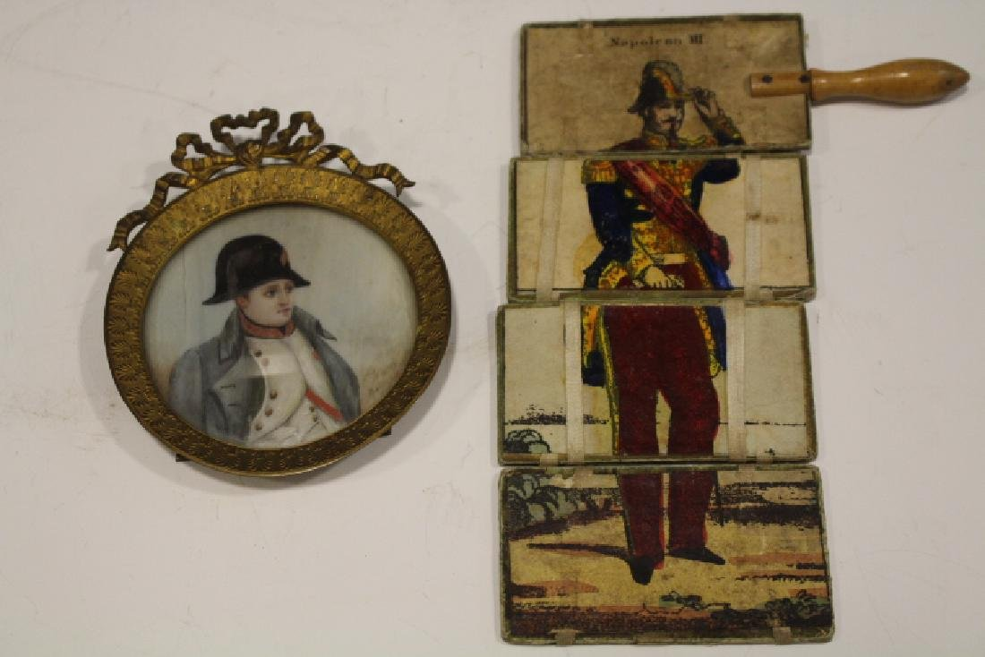 Signed Miniature Painting of Napoleon Wearing Hat