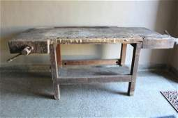 19th C Christiansen Workbench w/ Wooden Vices