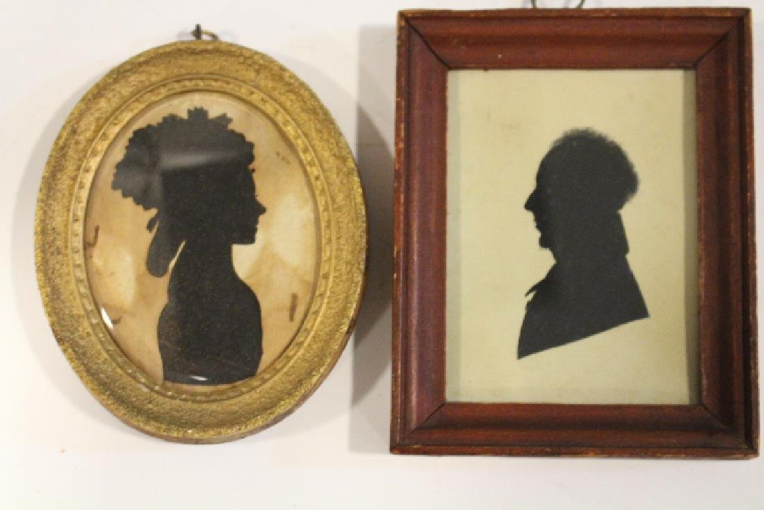 2 Early 1800s Silhouettes -Woman & Gentleman