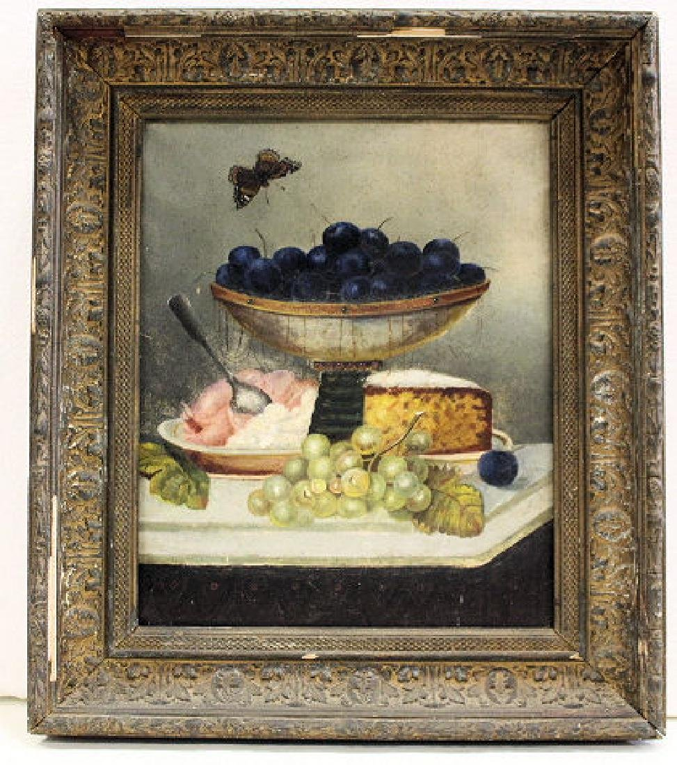 19th C Still Life Painting of Fruit & Cheese on Table